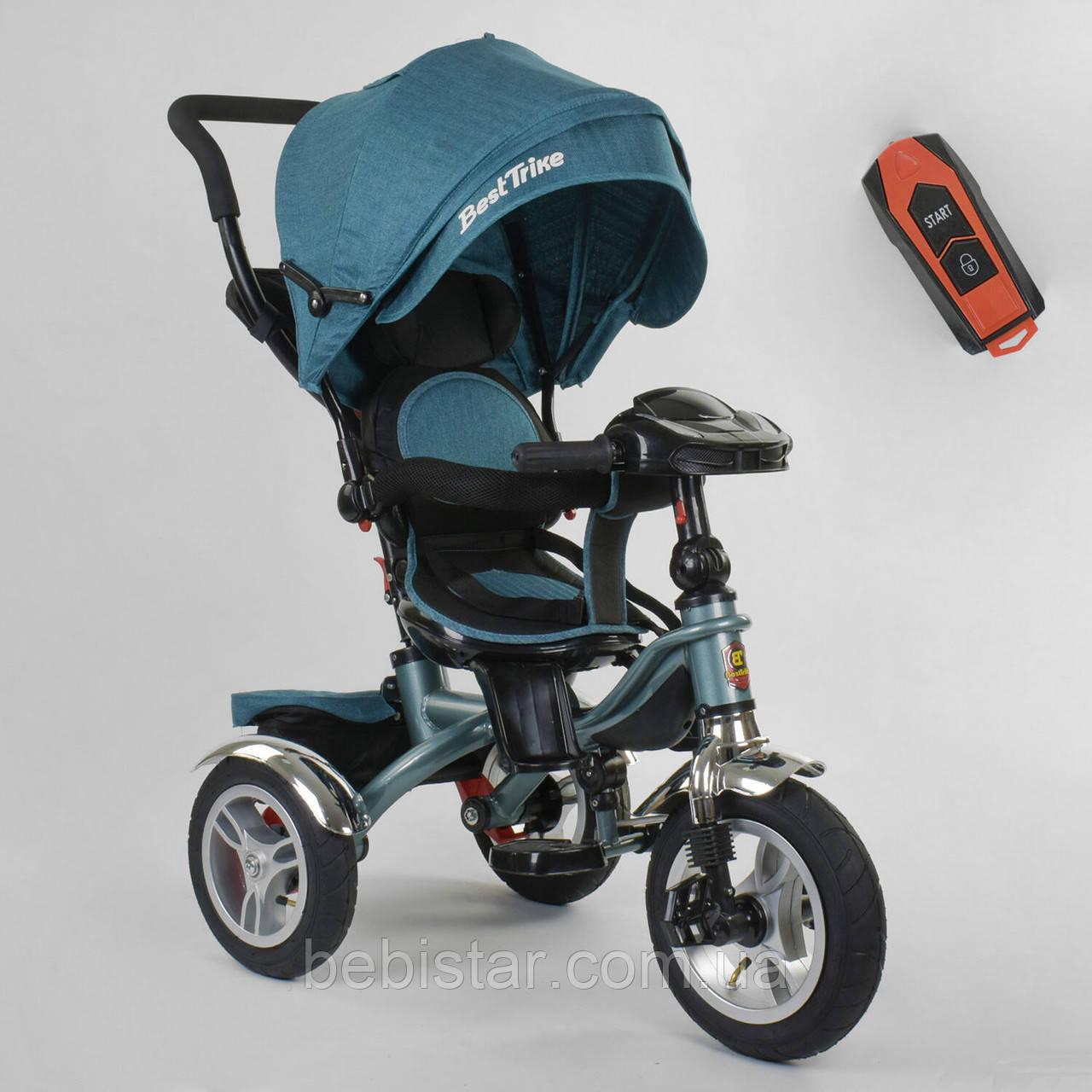 Детский трехколесный велосипед бирюзовый Best Trike 5890 фара с USB пульт поворотное сидение надувные колеса