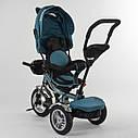 Детский трехколесный велосипед бирюзовый Best Trike 5890 фара с USB пульт поворотное сидение надувные колеса, фото 5