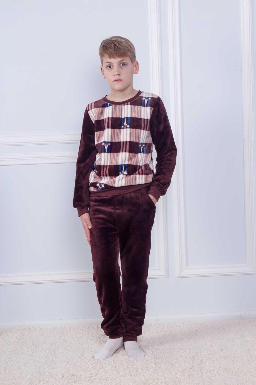 Махровая коричневая пижама с принтом Paris для мальчиков на 8-14 лет