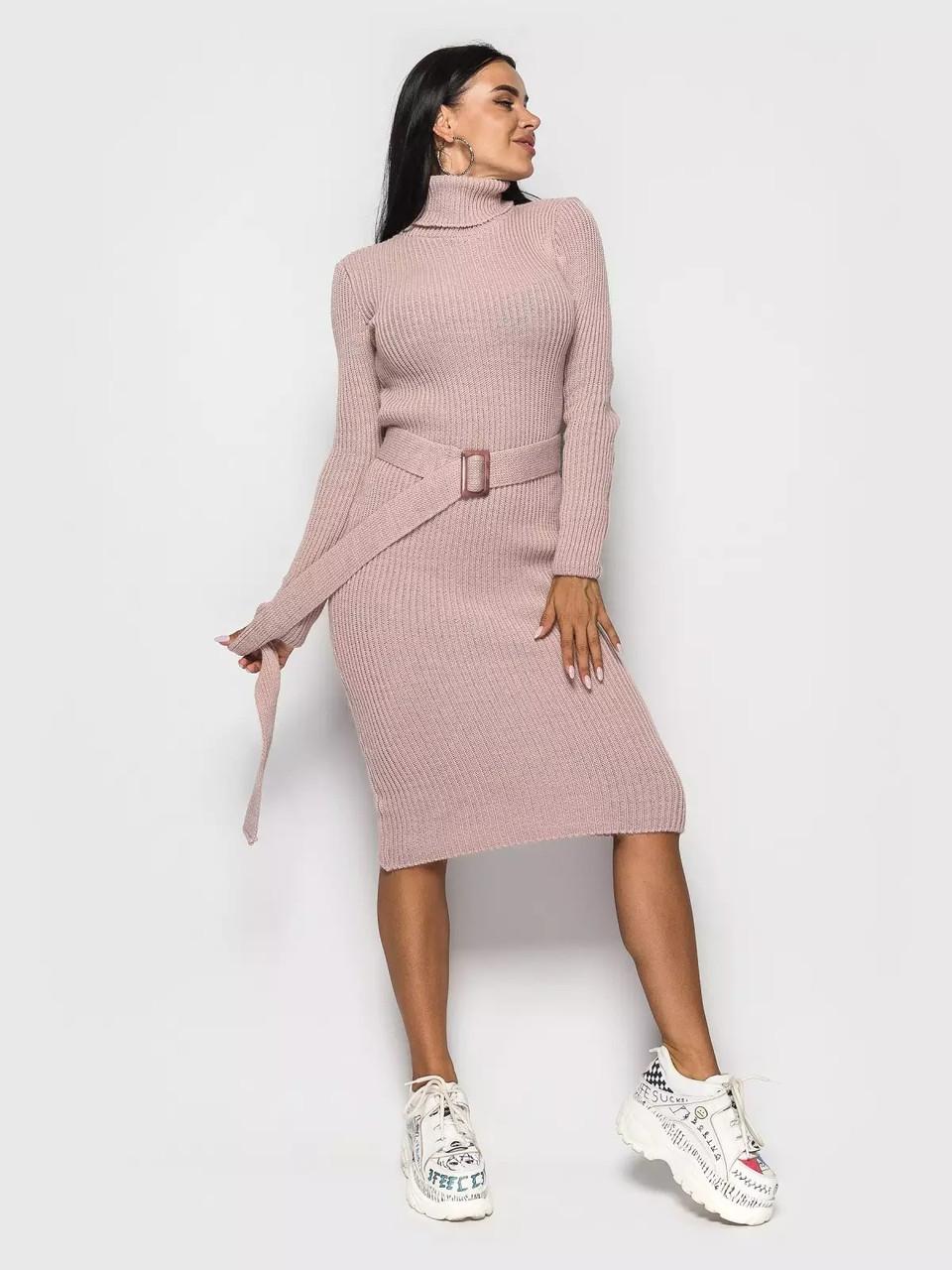 Модное вязаное платье с горлом и поясом 42-46 размер
