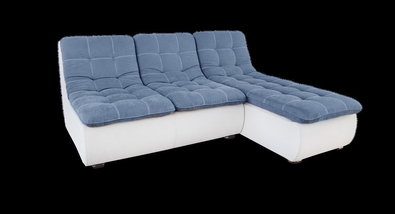 Угловой модульный синий диван  Орлеан фабрики Нота с оттоманкой