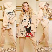 Женский утепленный спортивный костюм Микки Маус, теплый, практичный и приятный к телу, бежевый, Selesta