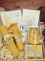 Набор подарочный, натуральное мыло, свечи из вощины, подарочный набор, соль для ванны с лепестками роз