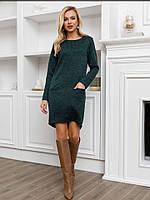 Зелена трикотажна сукня з фактурним принтом для жінок