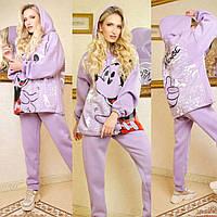 Женский утепленный спортивный костюм Микки Маус, теплый, практичный и приятный к телу, лиловый, Selesta