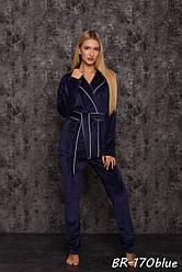 Женский бархатный комплект для дома люкс качества New Fashion BR-170blue | 1 шт.