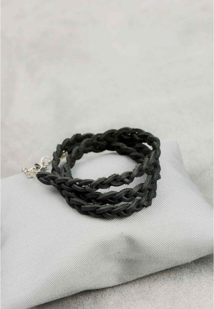 Браслет-лента женский кожаный тонкая косичка. Цвет черный