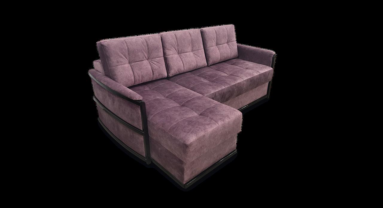 Кутовий коричневий диван Тіна 1 фабрики Нота з отоманкою