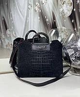 Женская замшевая сумка черная формат А4 модная городская сумочка молодежная замша+экокожа, фото 1