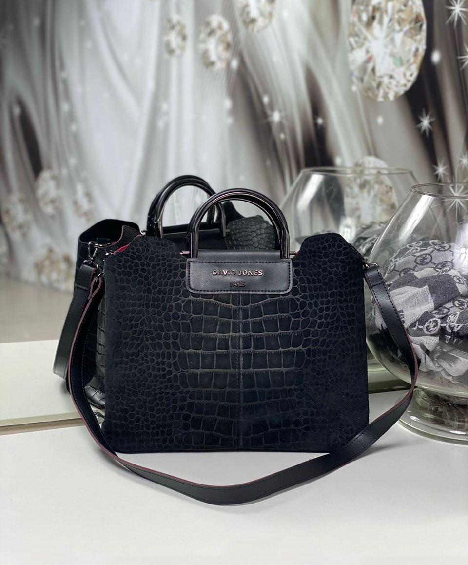 Женская замшевая сумка черная формат А4 модная городская сумочка молодежная замша+экокожа