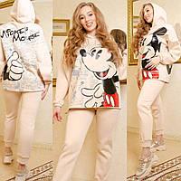 Женский утепленный спортивный костюм Микки Маус, теплый, практичный и приятный к телу, кремовый, Selesta