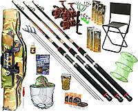 Рыболовный набор Три cпиннинга Fat cat 16в1 катушка Cobra 4000 1ВВ чехол, садок, кормушки