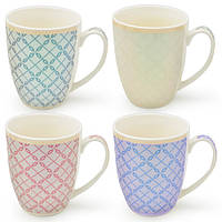 Чашка фарфоровая Style цена за 12шт, 350мл, разные цвета, чашки, чашки с узорами