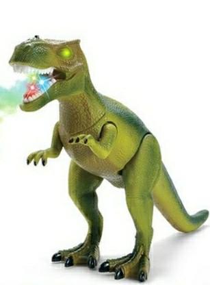 Динозавр интерактивный на р/у ходит, светится, рычит, пускает пар, зеленый, 8909