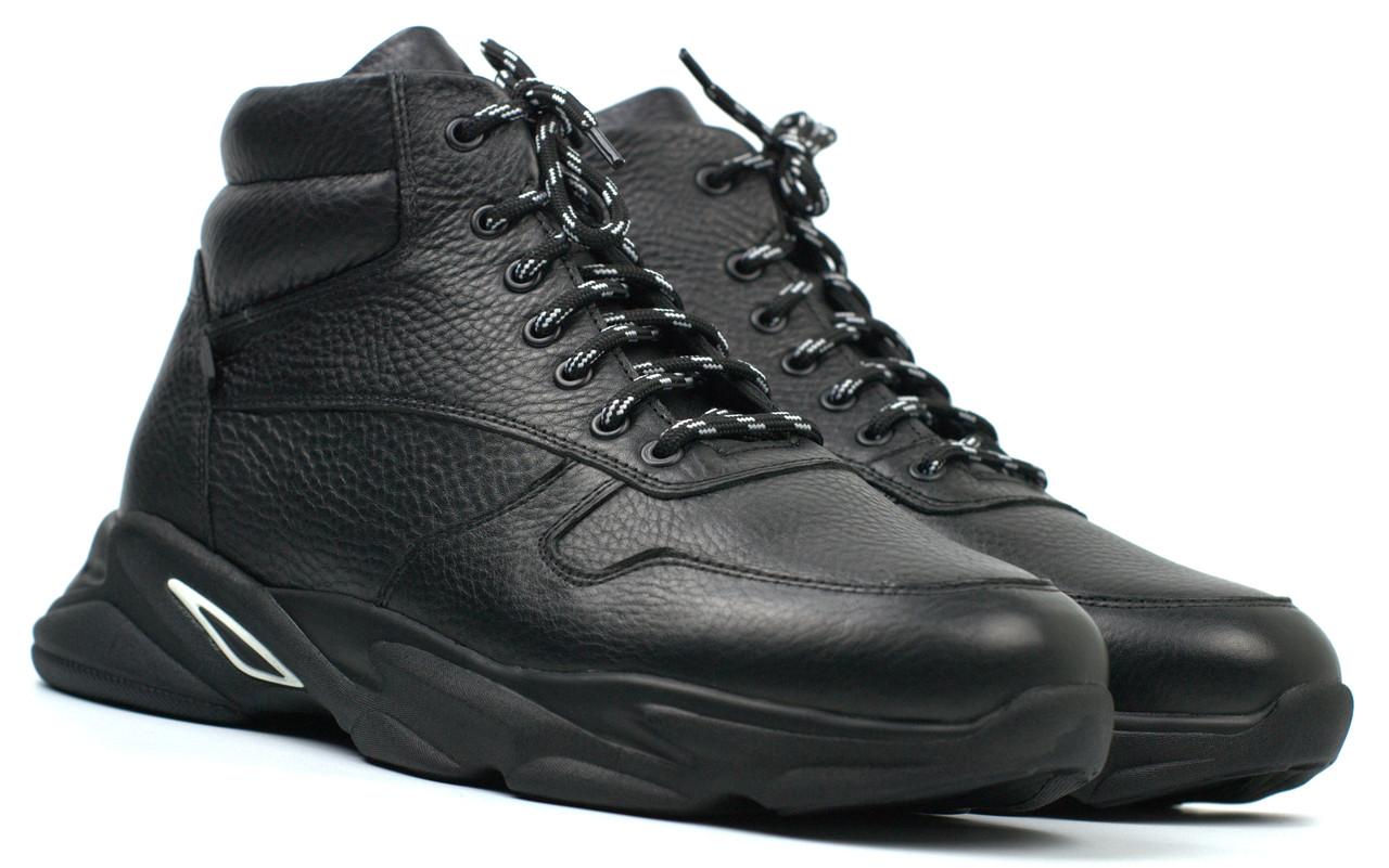 Кожаные зимние ботинки кроссовки на меху черные мужская обувь больших размеров Rosso Avangard ReBaKa Pen BS