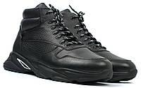 Кожаные зимние ботинки кроссовки на меху черные мужская обувь больших размеров Rosso Avangard ReBaKa Pen BS, фото 1