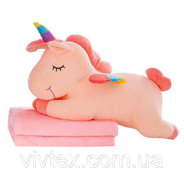 Плед детский + игрушка единорог и подушка 3в1