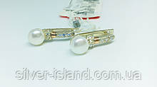Серебряные серьги с золотом и жемчугом