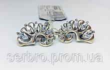 Серебряные сережки с цирконом Ракушка