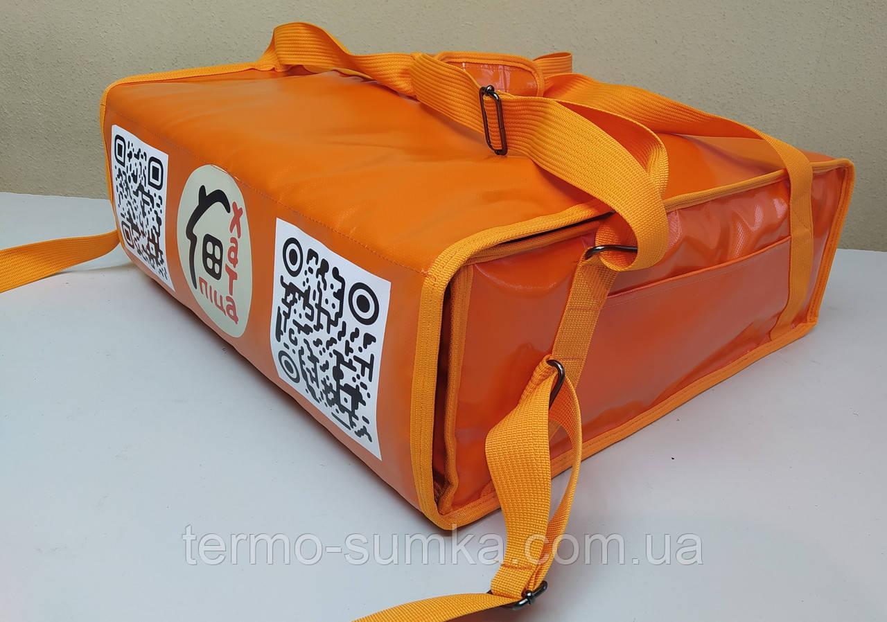 Термосумка для пиццы 45*45 на 3-4 коробки из ткани ПВХ. На липучках.