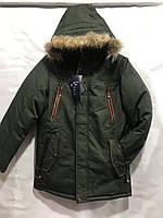Підліткова зимова тепла куртка для хлопчика з хутром на капюшоні Puma 8-12 років, темно-сірого кольору