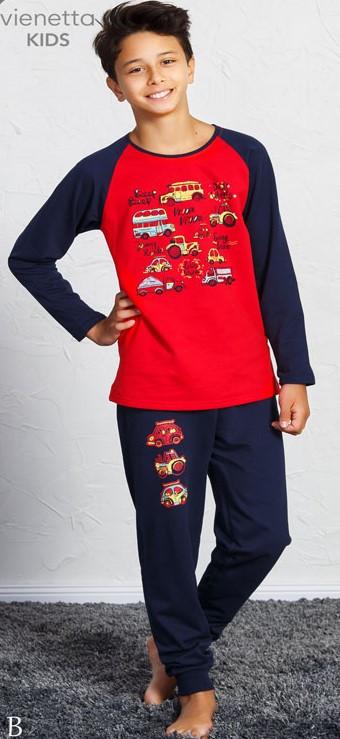 Байковая пижама с принтом машин для мальчиков на 3-8 лет