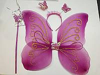 Набор новогодние крылья феи розовые в наборе с волшебная палочка и обруч