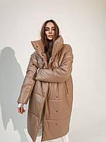 Куртка удлиненная женская зимняя из экокожи с воротнико стойкой объемная (р. S-L) 5801556