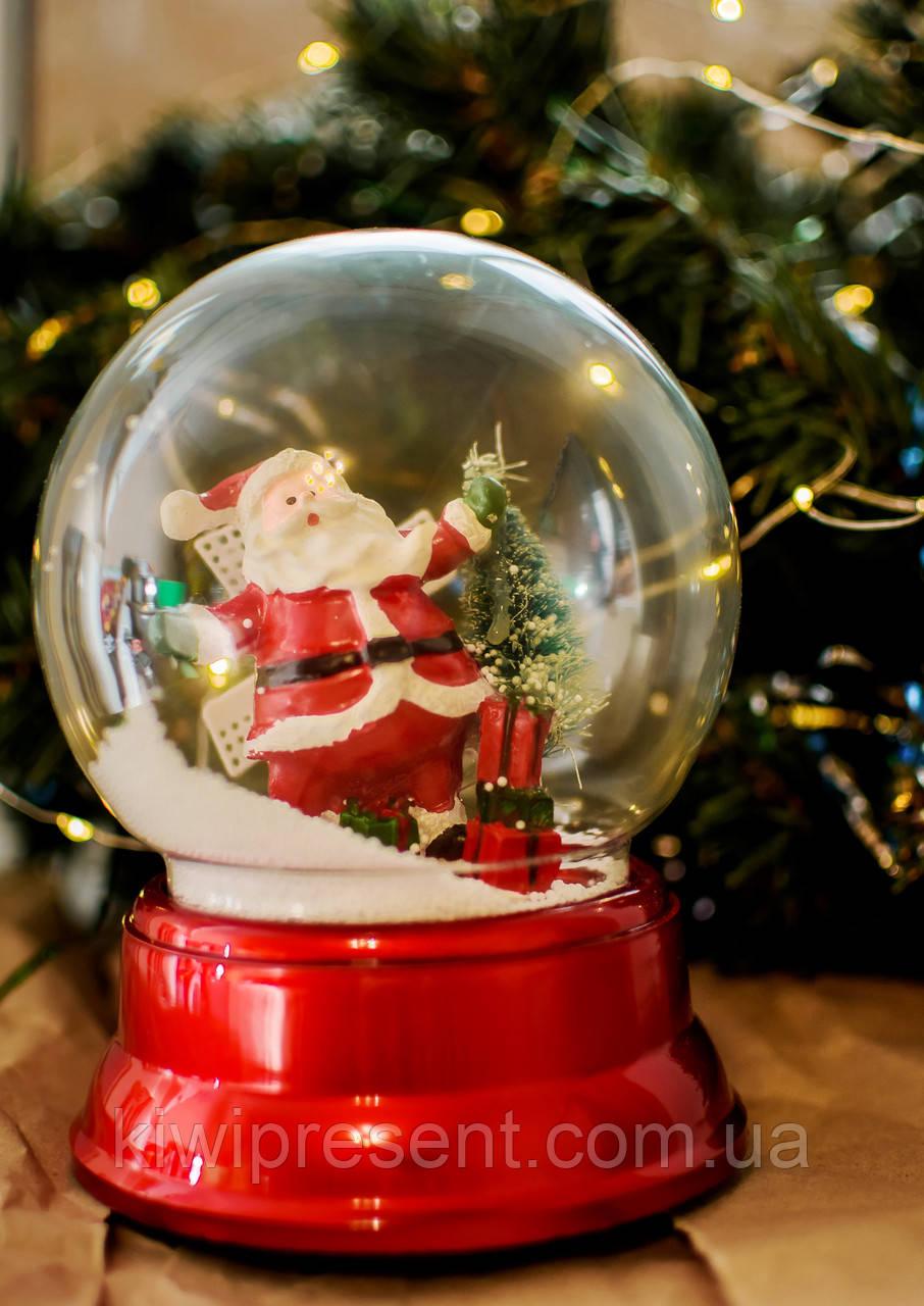 Снежный шар «Дед Мороз»  (музыкальный вращается) 18 см / новогодний шар со снегом / автометель на батарейках