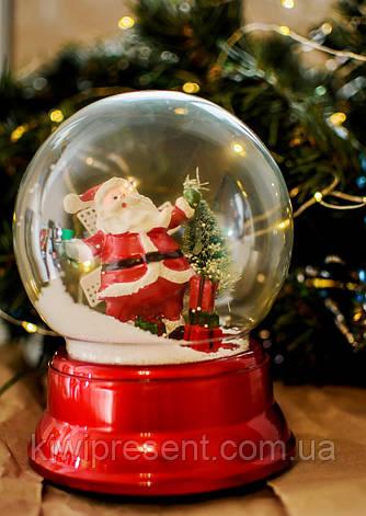 Снежный шар «Дед Мороз»  (музыкальный вращается) 18 см / новогодний шар со снегом / автометель на батарейках, фото 2