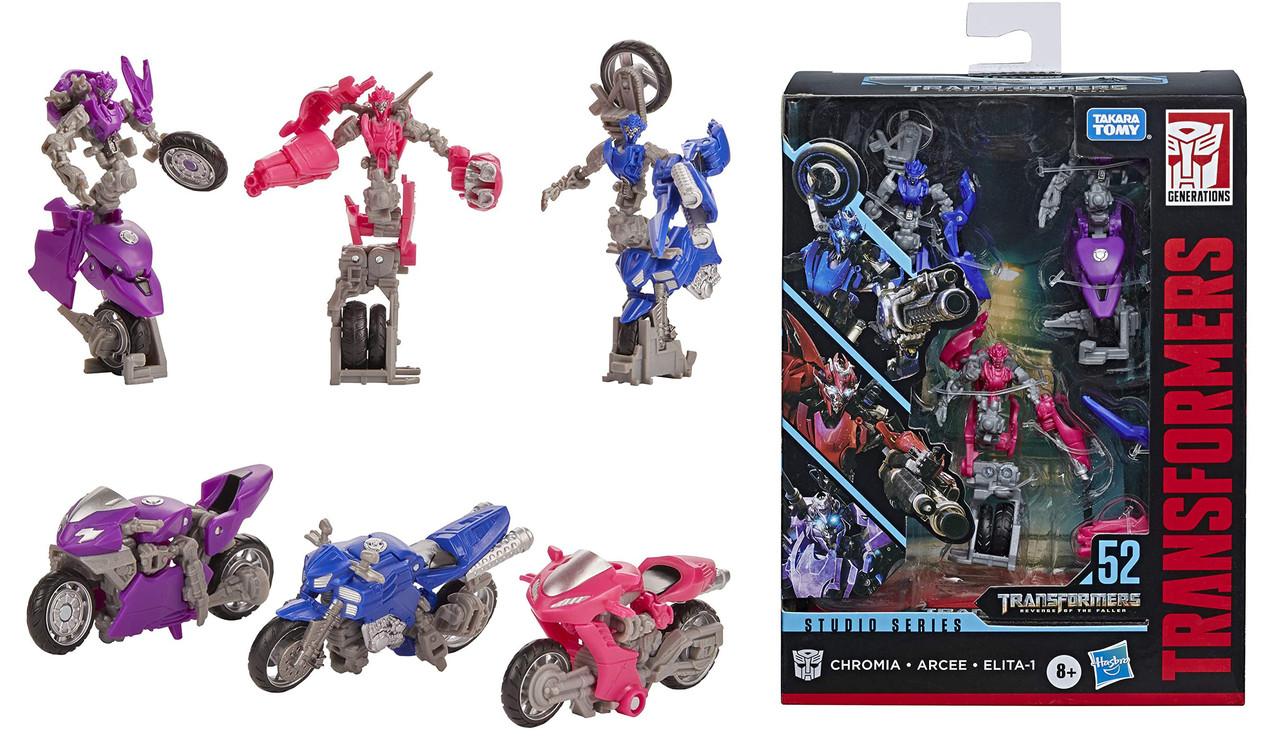 Transformers Toys  Трансформер Три Мотоцикла Арси Хромия Элита-1 Месть Падших Fallen Movie Arcee Chromia Elita