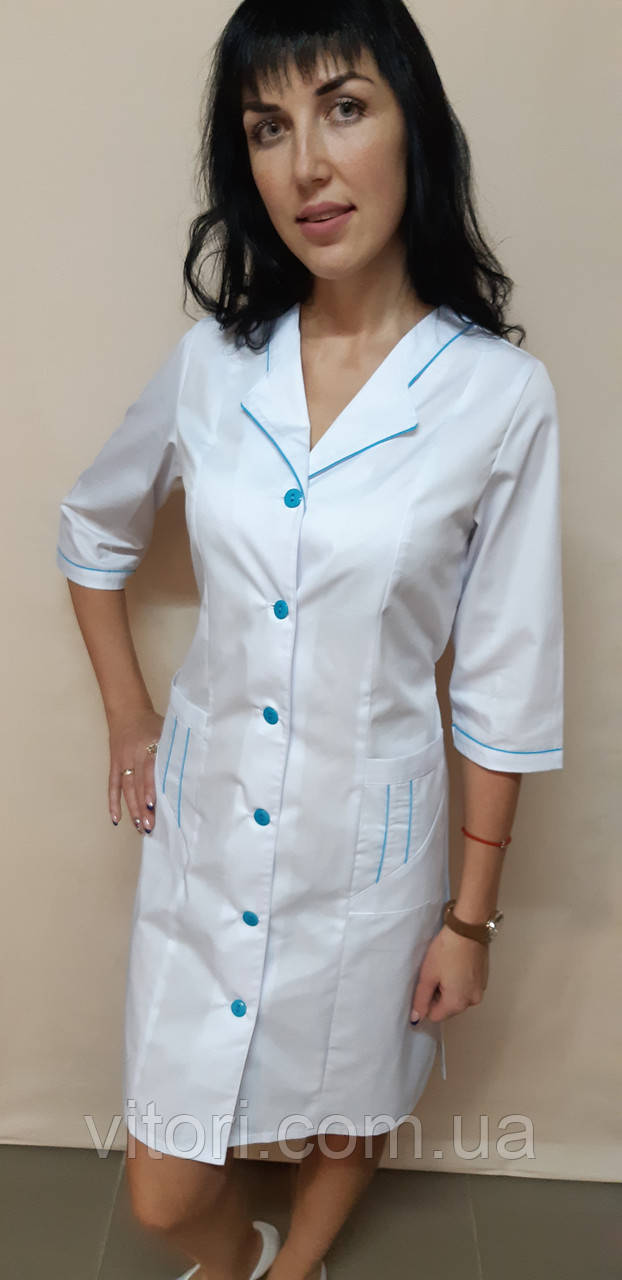 Медицинский женский халат Зина коттон три четверти рукав