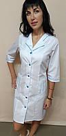Медицинский женский халат Зина коттон три четверти рукав, фото 1