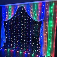 Гирлянда водопад-штора Premium мультиколор 3х3м 350 LED, 9 режимов, есть замирание, гарантия!
