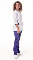 Медицинский костюм Анталия 3/4 белый/фиолет, фото 1