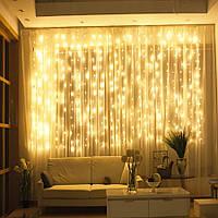 Гирлянда водопад-штора Premium белый теплый 3х3м 350 LED, 9 режимов, есть замирание, гарантия!
