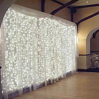 Гирлянда водопад-штора Premium белый холодный 3х3м 350 LED, 9 режимов, есть замирание, гарантия!