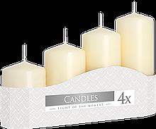 Свічки циліндри кремові BISPOL, набір з 4 шт