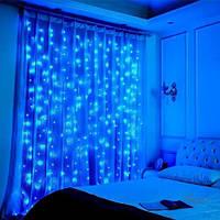 Гирлянда водопад-штора Premium синяя 3х3м 350 LED, 9 режимов, есть замирание, гарантия!