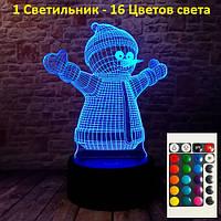 Светильник детский настольный, Снеговик, Подарки к новому году, новогодний подарок для детей