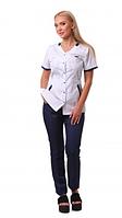 Медицинский костюм Анталия белый/темно синий, фото 1