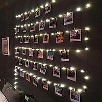 5 м гирлянда для фото с прищепками 50 LED | Гирлянда для фото