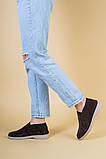 Лоферы женские замшевые коричневые на цигейке, фото 8