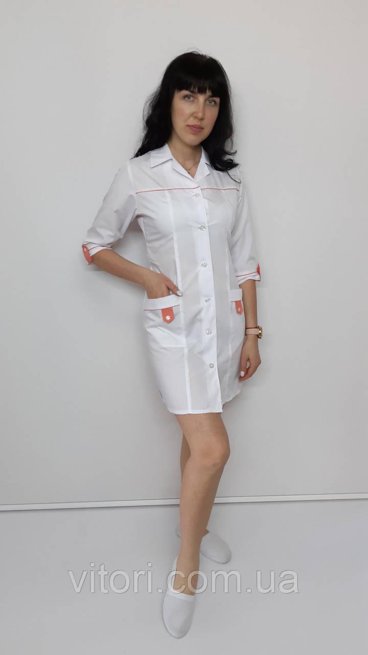 Медицинский женский халат Танго коттон три четверти рукав