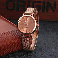 Женские наручные часы с кольчужным ремешком розовое золото, фото 1