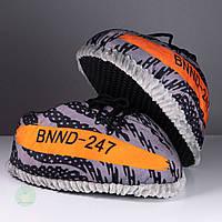 Домашние тапочки кроссовки спортивные серые с оранжевым, плюшевые, комнатные, размер 36-40