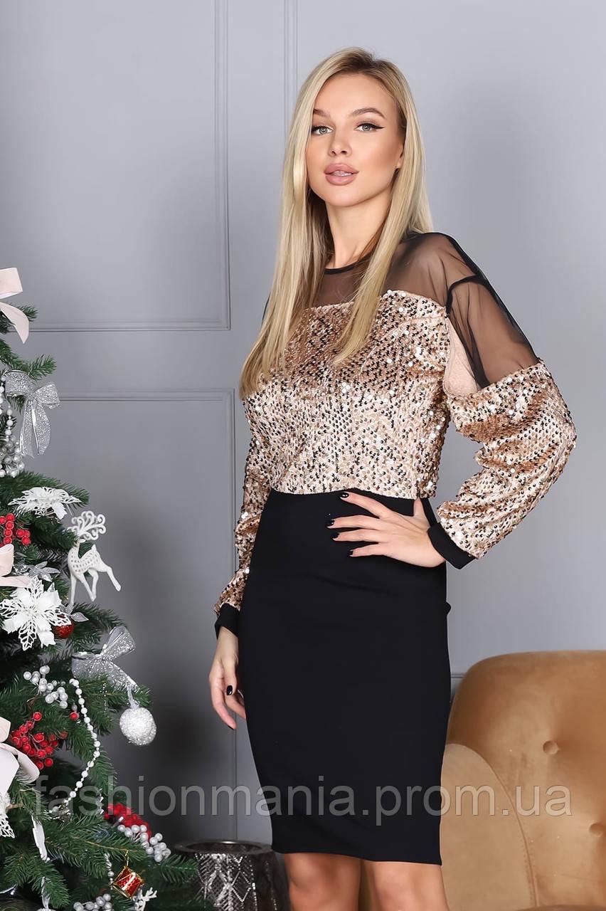 Платье женское с пайеткой на Новый год золото, розовый 42-44,46-48
