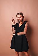 Платье женское нарядное в сеточку чёрное 42-44,44-46