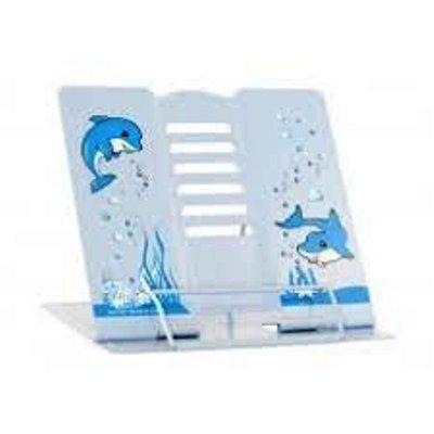 Подставка для книг металлическая Дельфин голубая