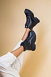 Ботинки женские кожаные черные на черной подошве, зимние, фото 3